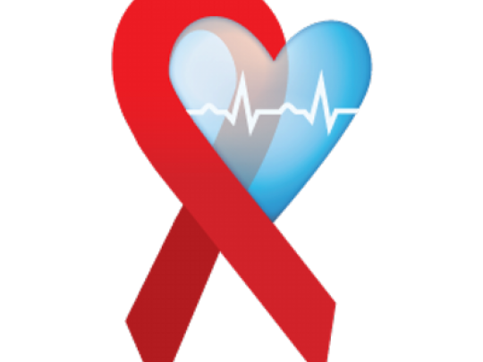 AIDS ribbon and a blue heart graphic