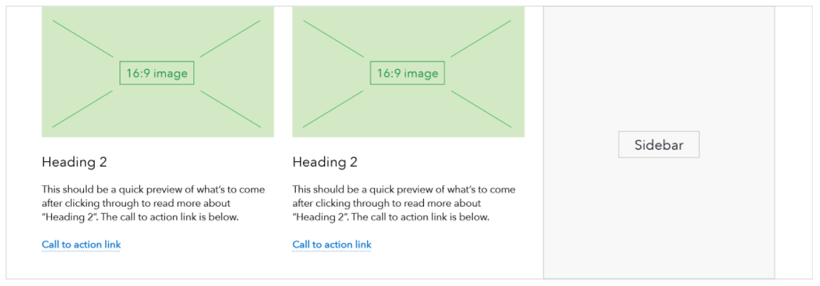 CFPB Design Manual, Page components: A pair of 50/50 image and text components, as seen on a landing page template.