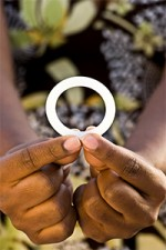 Woman holding the dapivirine vaginal ring tested in the NIH-funded ASPIRE study. Credit: International Partnership for Microbicides