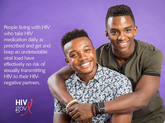 Photo of two men. People living with HIV who take HIV medication daily as prescreibed and get and keep an undetectable viral load have effectively no risk of sexually transmitting HIV to their HIV-negative partners.