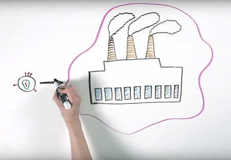 A hand draws a photo of a factory