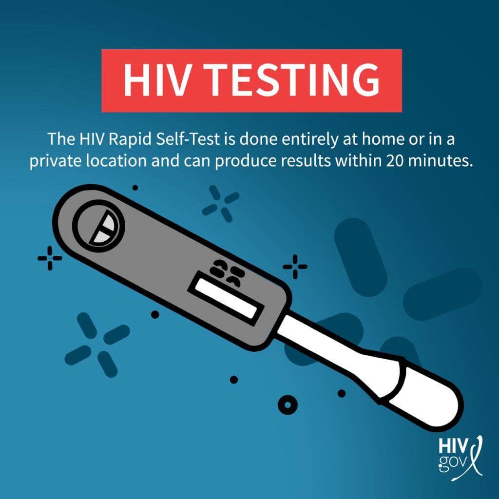HIV Testing. The HIV Rapid Self-Test is done entirely at home or in a private location and can produce results within 20 minutes.