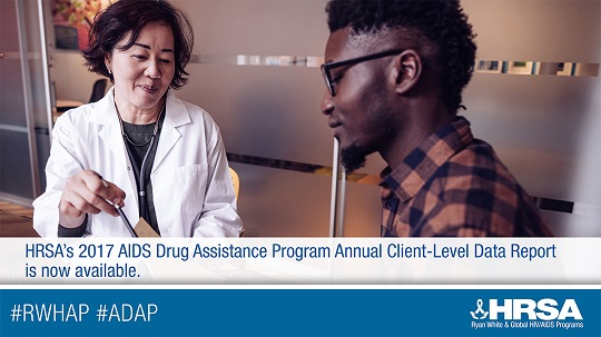 A doctor talks with a patient. HRSA's  2017 AIDS Drug Assistance Program Annual Client-Level Data Report is now available.