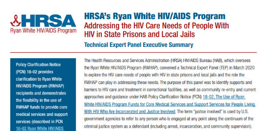 HRSA RWHAP Resource for People Who Are Incarcerated