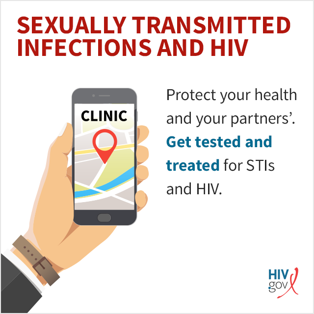 Protect your health and your partners'. Get tested and treated for STIs and HIV.