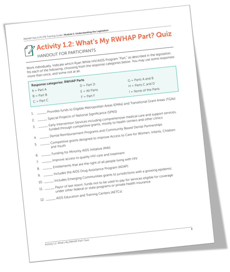 Screen grab of Activity 1.2: What's My RWHAP Part? Quiz
