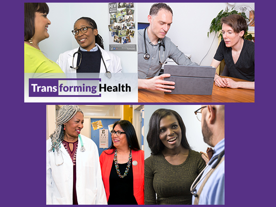 Four pictures showing different groups of people with medical personnel. Transforming Health