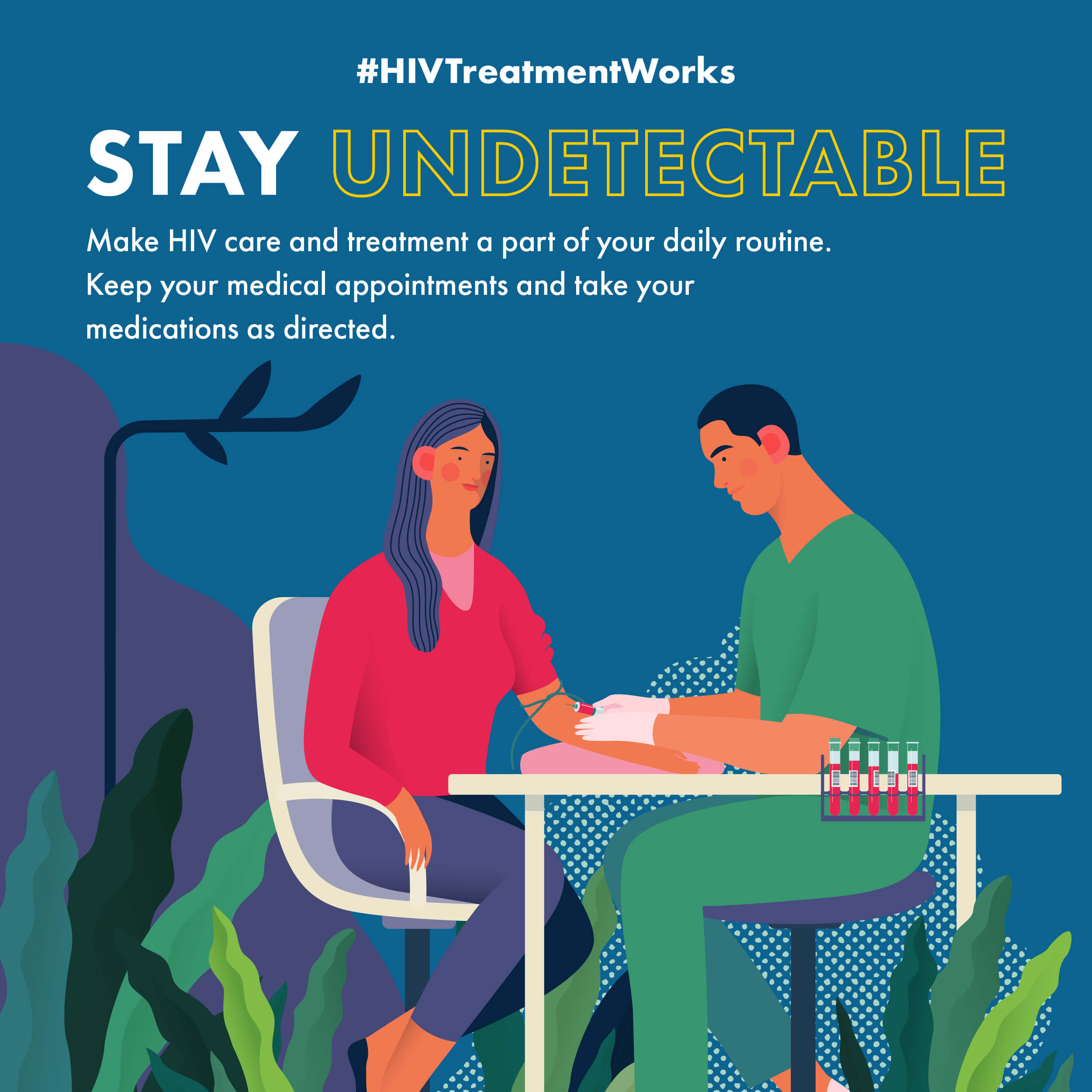 Stay Undetectable. Make HIV care and treatment a part of your daily routine. Keep your medical appointments and take your medications as directed.