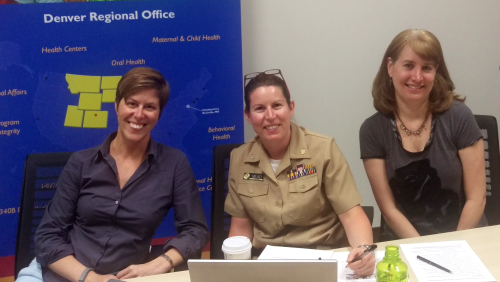 ORO reaches out: (from left) Valerie Gallo, CAPT Christina Mead and Kim Patton hosted the national webcast, which drew more than 1,000 viewers -- exceeding the dial-in capacity for the session. HRSA made two awards in 2014 totaling more than $100 million in ACA funding to 400 health centers to establish or expand behavioral health services.