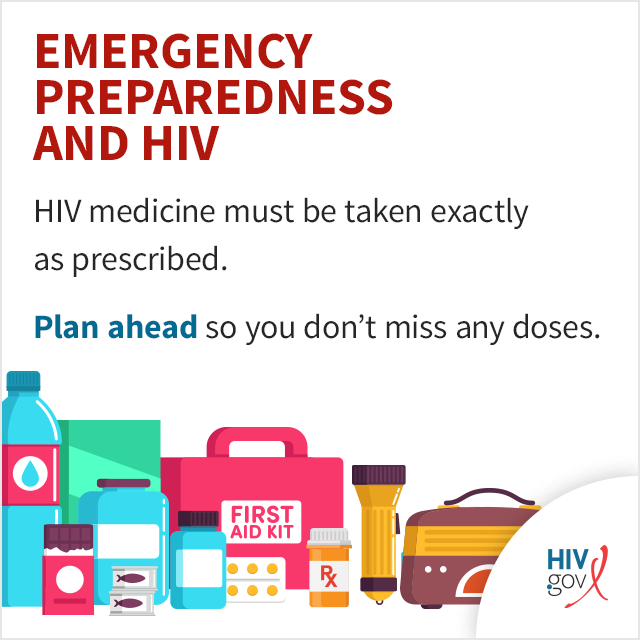 HIV medicine must be taken every day, exactly as prescribed. Plan ahead so you don't miss any doses.