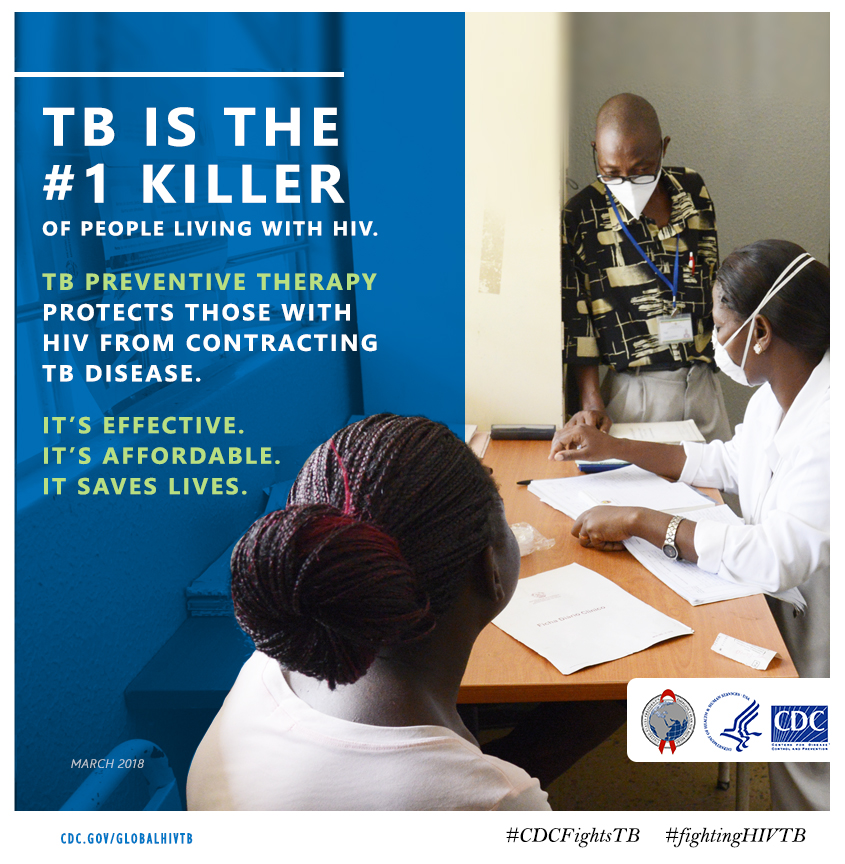 """Graphic featuring title text stating """"TB is the number one killer of people living with HIV"""""""