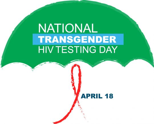 National Transgender HIV Testing Day logo of a green umbrella with a red AIDS ribbon as the handle. Has date of April 18 next to handle