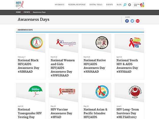 Screen capture of the HIV.gov Awareness Days pages.