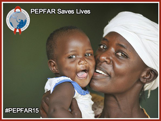 """Photo of a mother smiling and holding her baby up to her face with text stating """"PEPFAR saves lives."""""""