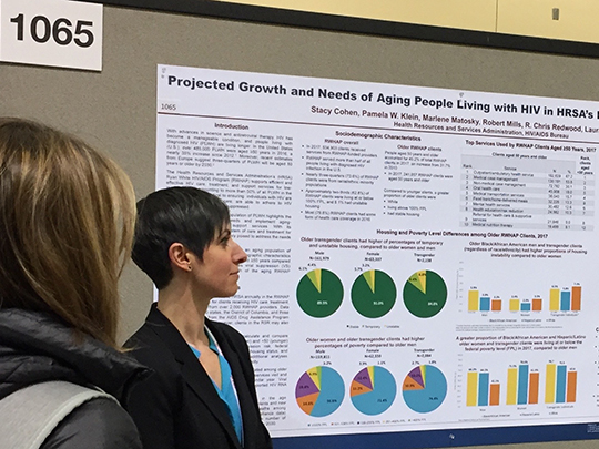 Photo of two women in front of a projection of different graphs: HRSA's S. Cohen presents analysis in poster at CROI 2019