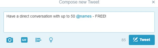 """Screenshot of """"compose new Tweet"""" from twitter, demonstrating how to @ a twitter name"""