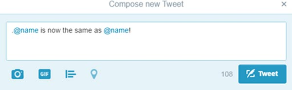 """Screenshot of """"compose new Tweet"""" demonstrating you can remove the period before adding a twitter handle"""