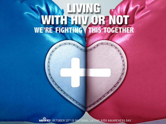 A pink boxing glove with a minus sign is pressed against a blue boxing glove with a plus sign. Living with HIV or not, we're fighting this together.