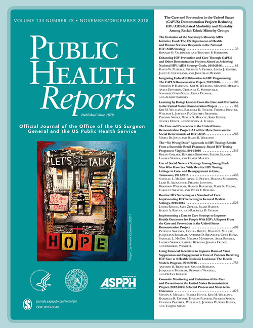 "Cover of Public Health Reports showing ""Let's Talk Hope"""