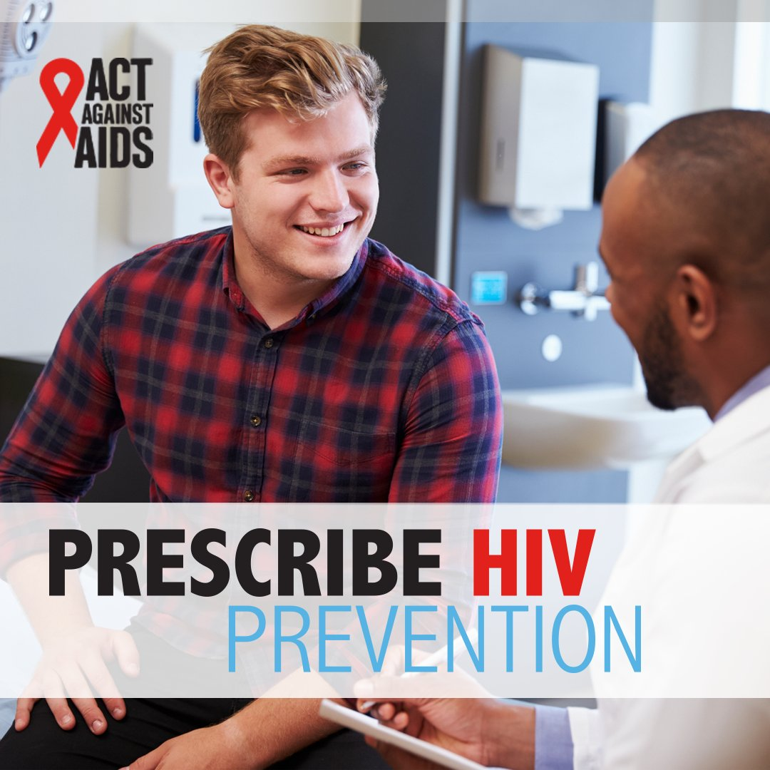 """Campaign image showing a man smiling as he talks with a doctor, with a text overlay stating: """"Prescribe HIV Prevention"""""""