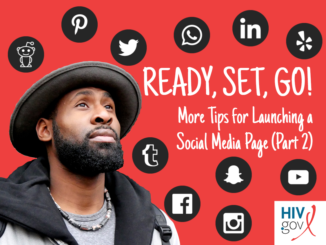 man looking up with social media icons in background. Ready, Set, Go. More Tips for Launching a Social Media Page.