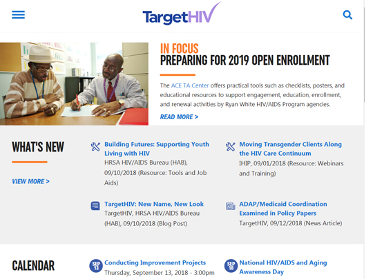 """Screen grab from the new TargetHIV home page. The lead headline is """"In Focus: Preparing for 2019 Open Enrollment""""."""